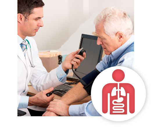 Internal medicine provider checking the blood pressure of a patient.